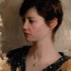 """American Legacy Fine Arts presents """"Portrait of Mrs. Sheryl Guerrero"""" a painting by Jeremy Lipking."""