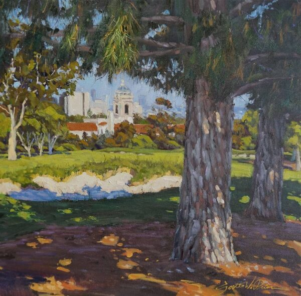 """American Legacy Fine Arts presents """"Fore!"""" a painting by Scott w. Prior."""