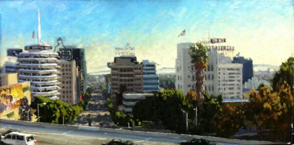 """American Legacy Fine Arts presents """"The 101 and Vine; Hollywood"""" a painting by Scott W. Prior."""
