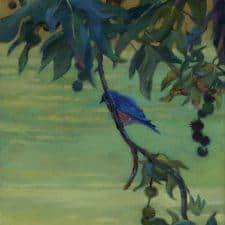 """American Legacy Fine Arts presents """"Sycamore Bluebird"""" a painting by William Stout."""