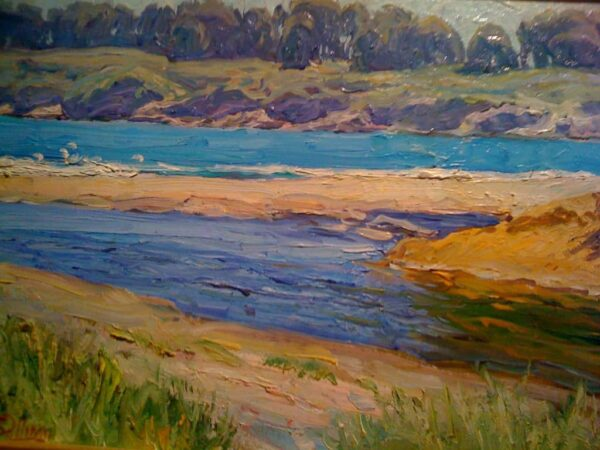 """American Legacy Fine Arts presents """"Turquoise Water; Cambria"""" a painting by Tim Solliday."""