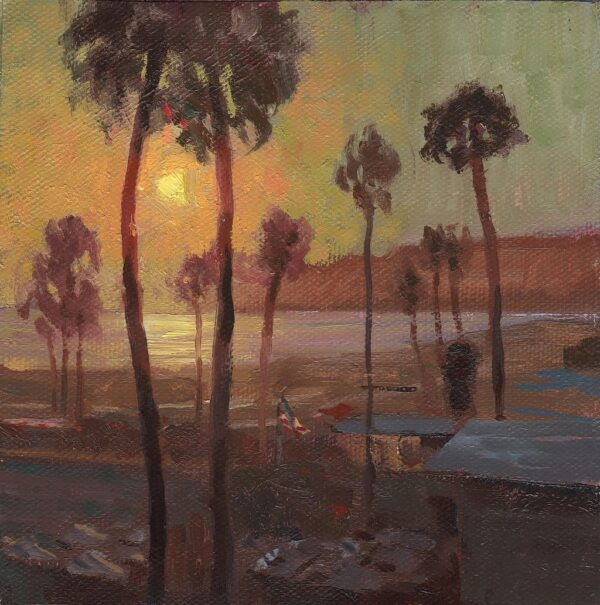 """American Legacy Fine Arts Presents """"Sunset over Santa Monica"""" a painting by Tony Pro."""