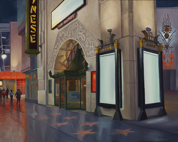 """American Legacy Fine Arts presents """"Chinese Theater"""" a painting by Tony Peters."""