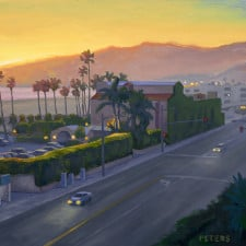 """American Legacy Fine Arts presents """"Santa Monica Beach Nocturne"""" a painting by Tony Peters."""