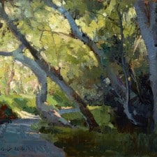 """American Legacy Fine Arts presents """"Cart Path at the Golf Course"""" a painting by Jove Wang."""