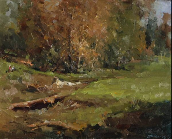 """American Legacy Fine Arts presents """"Gold Course in Autumn"""" a painting by Jove Wang."""