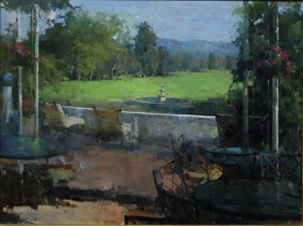 """American Legacy Fine Arts presents """"Sit Back and Relax"""" a painting by Jove Wang."""