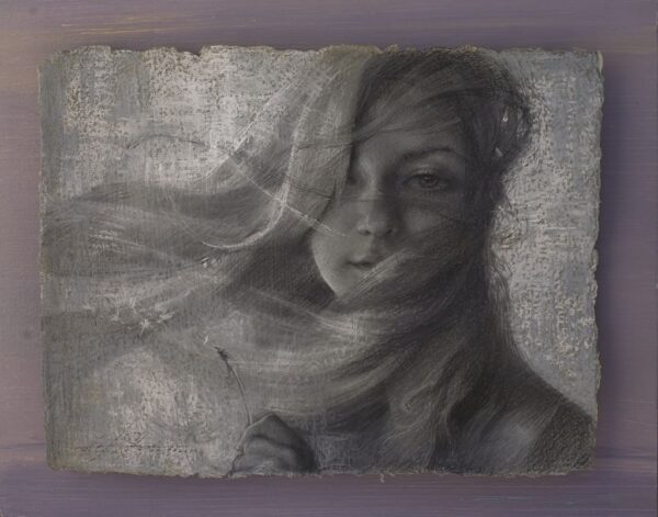 """American Legacy Fine Arts presents """"Whisper in a Wind"""" a drawing by Alexey Steele."""