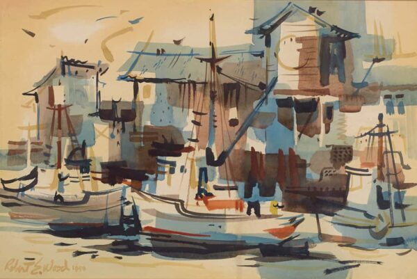 """American Legacy Fine Arts presents """"Untitled; Harbor Scene"""" a painting by Robert E. Wood (1926-1999)."""