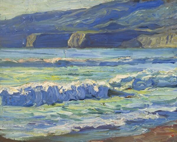 """American Legacy Fine Arts presents """"Blue Waters, Palos Verdes"""" a painting by Tim Solliday."""