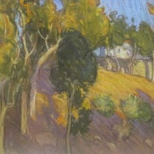 """American Legacy Fine Arts presents """"Eucalyptus Hillside, Pasadena"""" a painting by Tim Solliday."""
