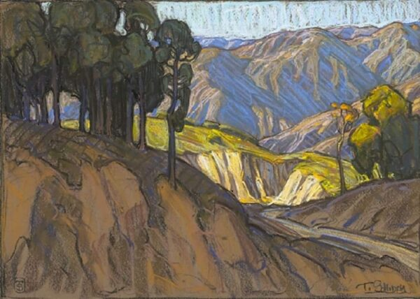 """American Legacy Fine Arts presents """"Mountains Above Eaton Canyon"""" a painting by Tim Solliday."""