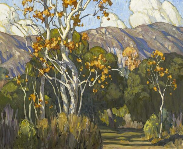 """American Legacy Fine Arts presents """"Tangled Sycamores; Eaton Canyon"""" a painting by Tim Solliday."""