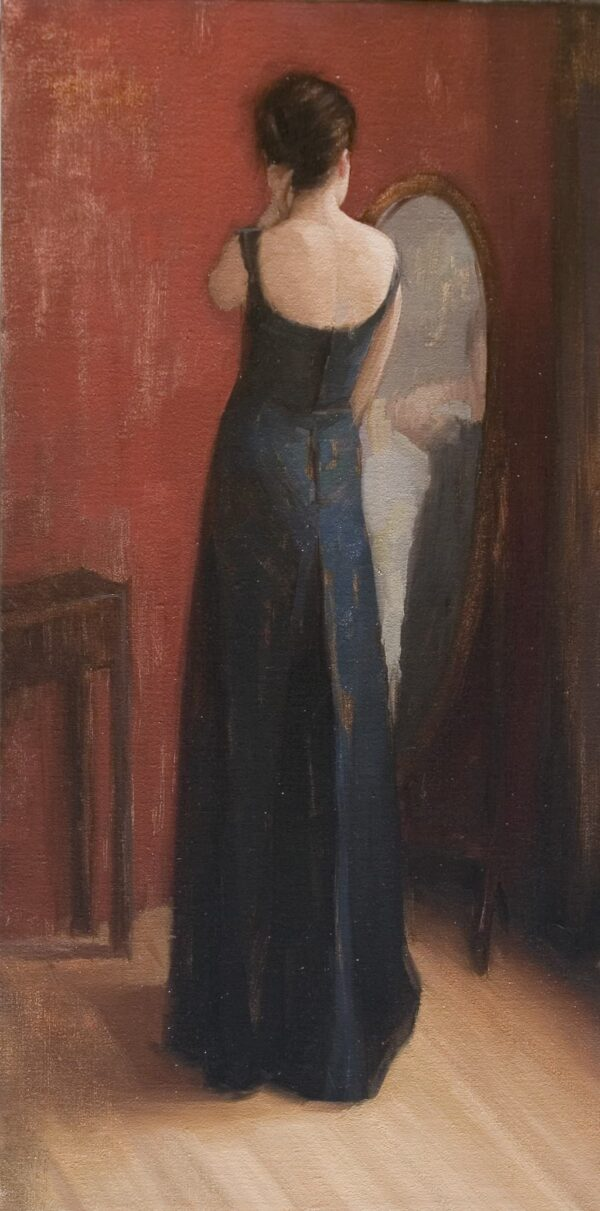 """American Legacy Fine Arts presents """"Black Dress"""" a painting by Aaron Westerberg."""