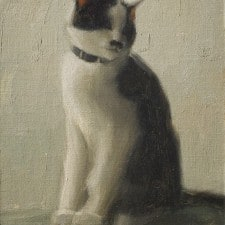 """American Legacy Fine Arts presents """"The Artist's Cat, Sen Sei"""" a painting by Aaron Westerberg."""