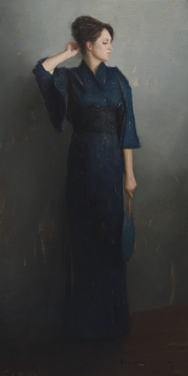 """American Legacy Fine Arts presents """"The Blue Kimono"""" a painting by Aaron Westerberg."""