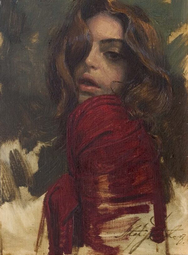 """American Legacy Fine Arts presents """"Red"""" a painting by Alexey Steele."""