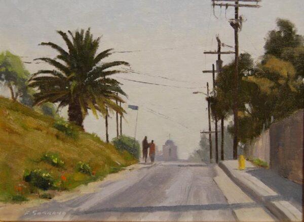 "American Legacy Fine Arts presents ""A Walk to Church; Echo Park"" a painting by Frank Serrano."