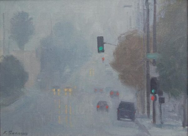 """American Legacy Fine Arts presents """"Another Rainy Day near the L.A. River"""" a painting by Frank Serrano."""