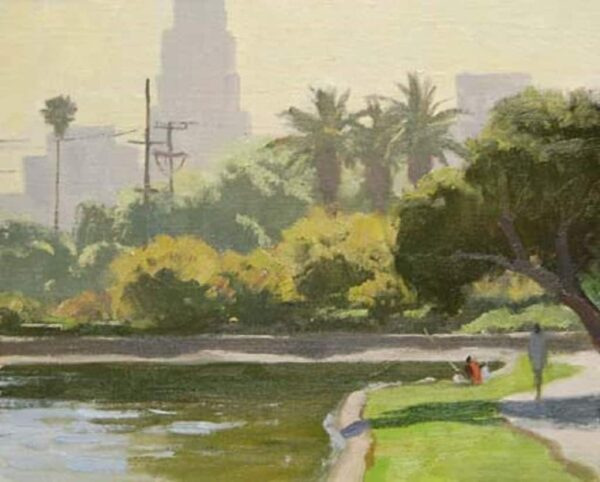 """American Legacy Fine Arts presents """"Echo Park"""" a painting by Frank Serrano."""