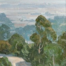 """American Legacy Fine Arts presents """"Eucalyptus Over L.A."""" a painting by Frank Serrano."""