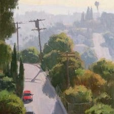 """American Legacy Fine Arts presents """"Hazy Hills near Lincoln Park"""" a painting by Frank Serrano."""