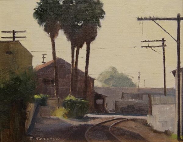 """American Legacy Fine Arts presents """"Industry Palms; Downtown Los Angeles"""" a painting by Frank Serrano."""