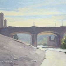 """American Legacy Fine Arts presents """"It was Hot; Hyperion Bridge, L. A. River"""" a painting by Frank Serrano."""