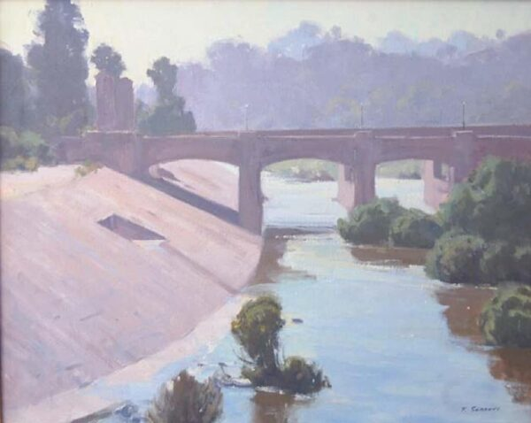 """American Legacy Fine Arts presents """"L.A. River; Hyperion Bridge"""" a painting by Frank Serrano."""
