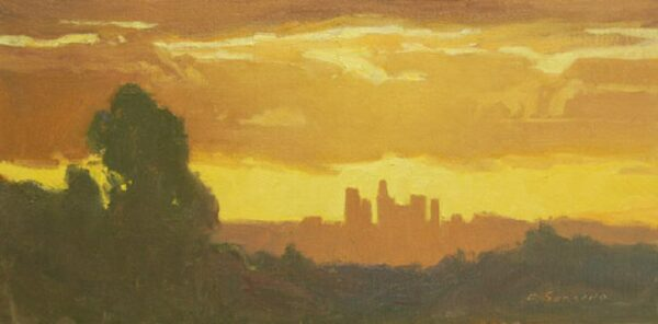 """American Legacy Fine Arts presents """"Stormy Sunset over L.A."""" a painting by Frank Serrano."""