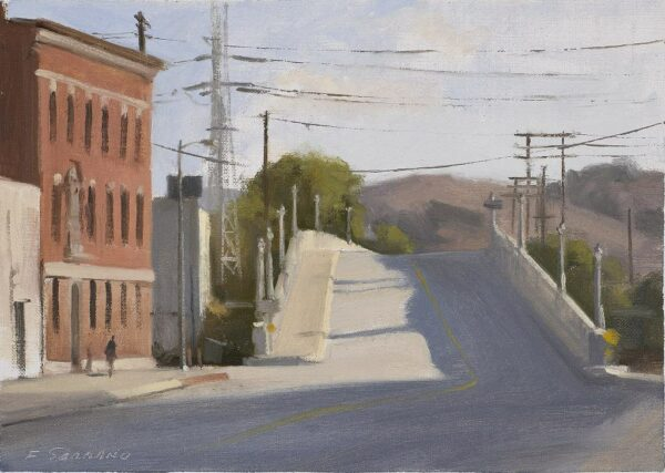 """American Legacy Fine Arts presents """"Downtown L.A. Bridge at Broadway"""" a painting by Frank Serrano."""