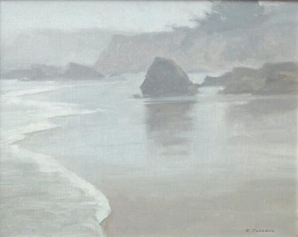 "American Legacy Fine Arts presents ""Foggy Coast; Cambria"" a painting by Frank Serrano."