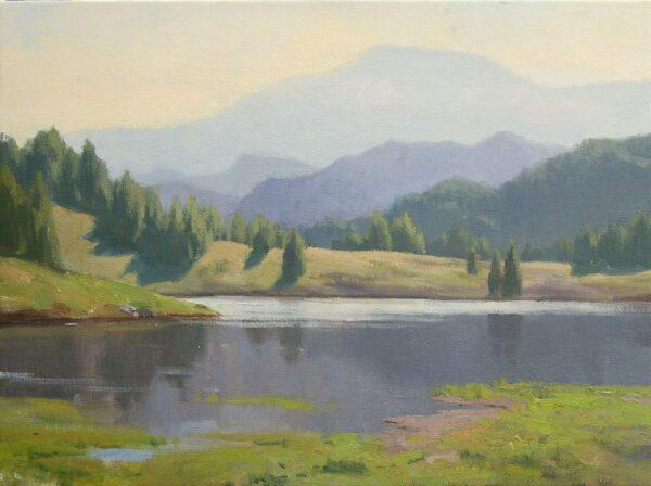 "American Legacy Fine Arts presents ""Lake Shastina"" a painting by Frank Serrano."