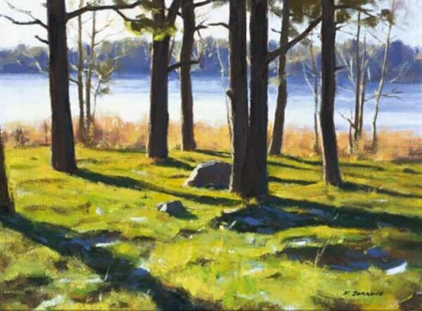 """American Legacy Fine Arts presents """"Long Shadows of Winter, Sweden"""" a painting by Frank Serrano."""