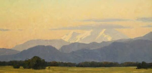 """American Legacy Fine Arts presents """"Mount Shasta Sunset"""" a painting by Frank Serrano."""