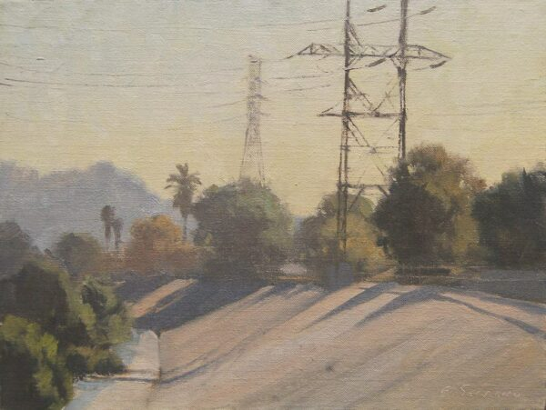 """American Legacy Fine Arts presents """"West Bank, L.A. River"""" a painting by Frank Serrano."""
