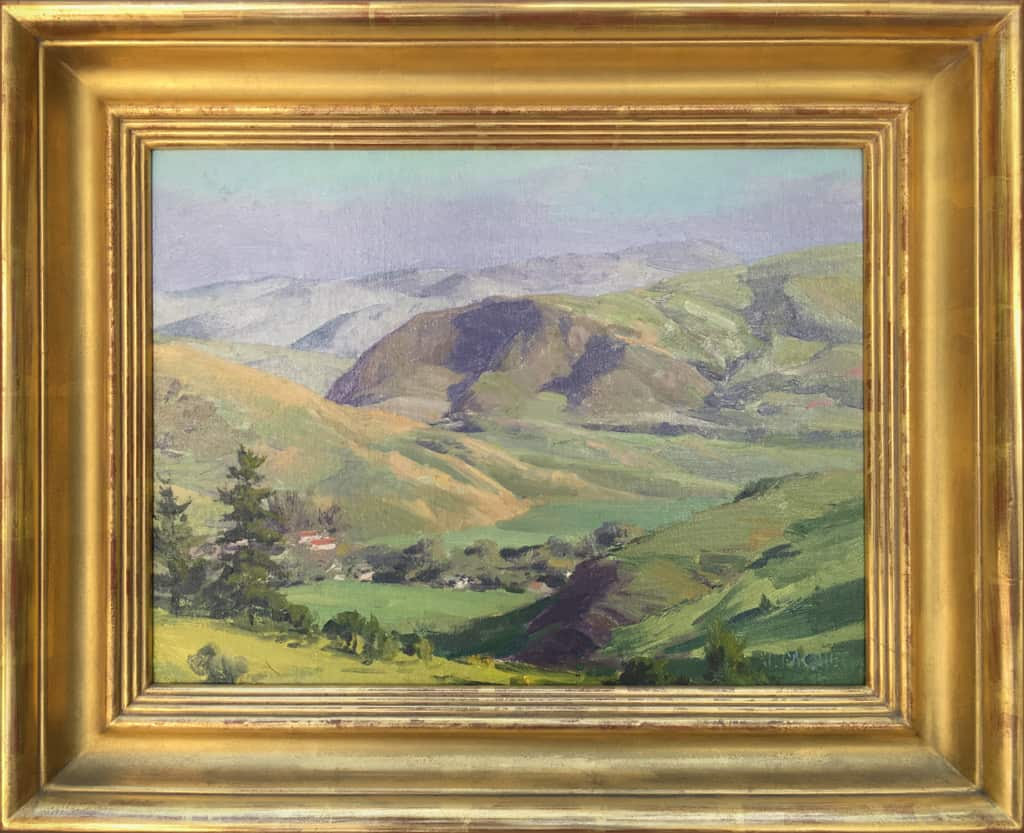 """American Legacy Fine Arts presents """"Pinecones for Joseph; Velvet Hills , Cambria"""" a painting by Joseph Paquet."""