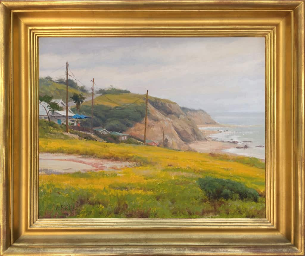 """American Legacy Fine Arts presents """"Flowers Above the Cove"""" a painting by Joseph Paquet."""
