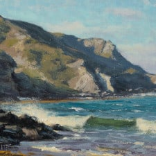 """American Legacy Fine Arts presents """"Crisp Day, Shark Harbor"""" a painting by Joseph Paquet."""