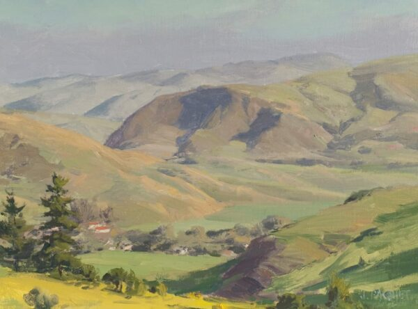 """American Legacy Fine Arts presents """"Pinecones for Joseph ;Velvet Hills, Cambia"""" a painting by Joseph Paquet."""