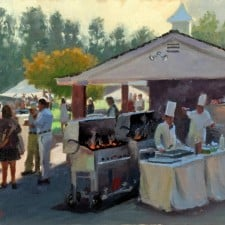 """American Legacy Fine Arts presents """"Afternoon Party"""" a painting by John Cosby."""