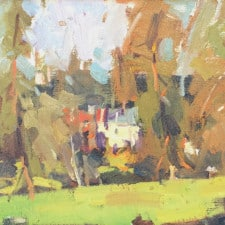 """American Legacy Fine Arts presents """"Nestled in the Pines"""" a painting by Jove Wang."""