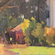 """American Legacy Fine Arts presents """"South Course Cafe"""" a painting by Jove Wang."""