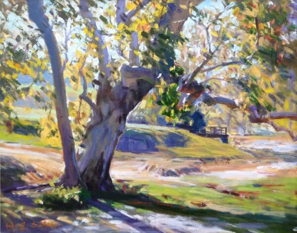 """American Legacy Fine Arts presents """"Golden Leaves"""" a painting by W. Jason Situ."""