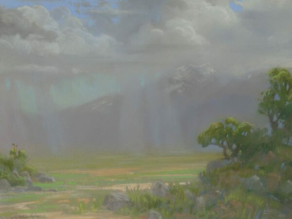 """American Legacy Fine Arts presents """"Distant Showers at the Bar E Ranch; North Side of Mt. Shasta"""" a painting by Peter Adams."""