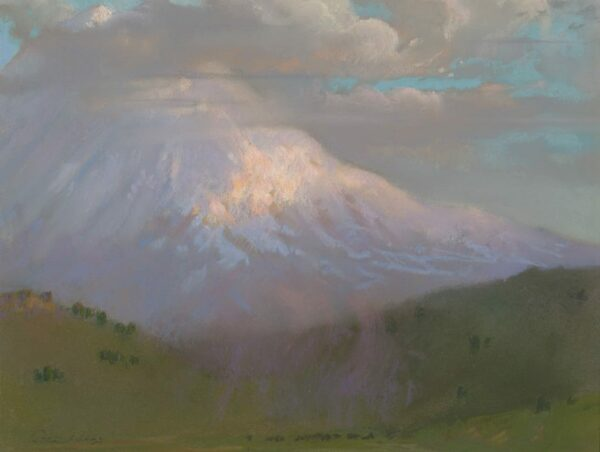 """American Legacy Fine Arts presents """"Evening Breeze; Mt. Shasta"""" a painting by Peter Adams."""