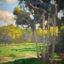 """American Legacy Fine Arts presents """"Late Afternoon Off the Path"""" a painting by Peter Adams."""