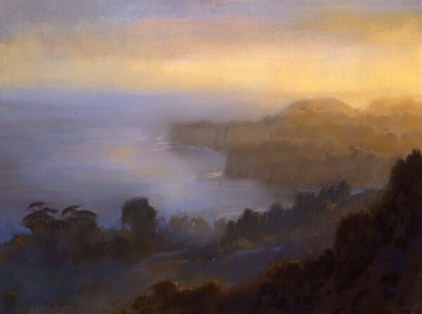"""American Legacy Fine Arts presents """"Afternoon Overlooking Point Dume from Latigo Canyon"""" a painting by Peter Adams."""