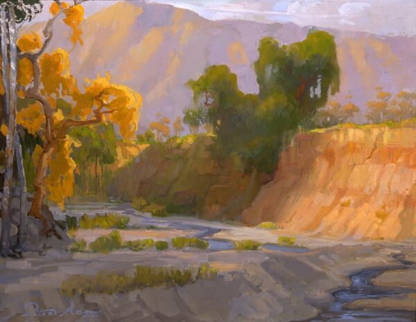 """American Legacy Fine Arts presents """"Arroyo Wash in front of Brown Mountain"""" a painting by Peter Adams."""