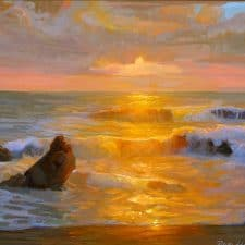"""American Legacy Fine Arts presents """"Autumn Sunset; Crystal Cove"""" a painting by Peter Adams."""